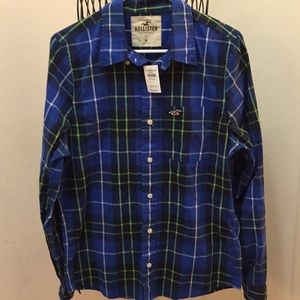 NWT Hollister Blue Plaid Shirt